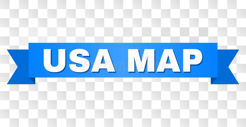 Blue Tape with USA MAP Text. USA MAP text on a ribbon. Designed with white caption and blue tape. Vector banner with USA MAP tag on a transparent background royalty free illustration
