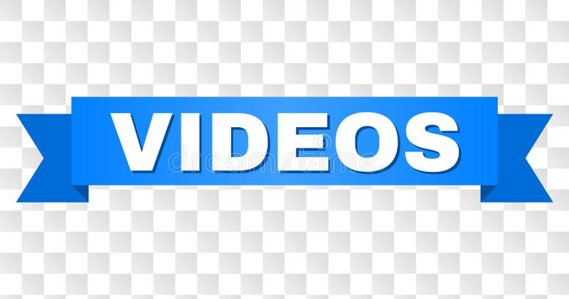 Blue Tape with VIDEOS Text. VIDEOS text on a ribbon. Designed with white caption and blue tape. Vector banner with VIDEOS tag on a transparent background vector illustration