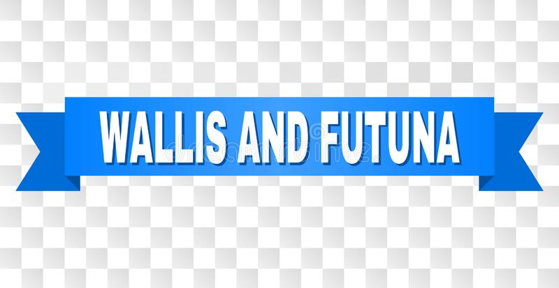 Blue Tape with WALLIS AND FUTUNA Caption. WALLIS AND FUTUNA text on a ribbon. Designed with white caption and blue stripe. Vector banner with WALLIS AND FUTUNA royalty free illustration