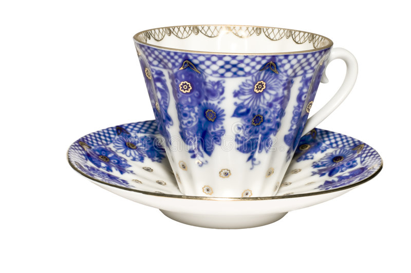 Blue tea cups stock images