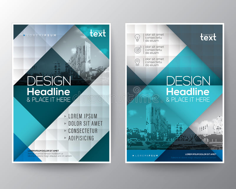 Blue and teal Brochure annual report cover Flyer Poster design Layout vector illustration