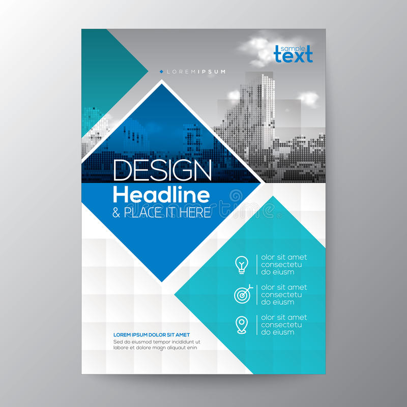 Blue and teal diamond shape graphic background for Brochure annual report cover Flyer Poster royalty free illustration