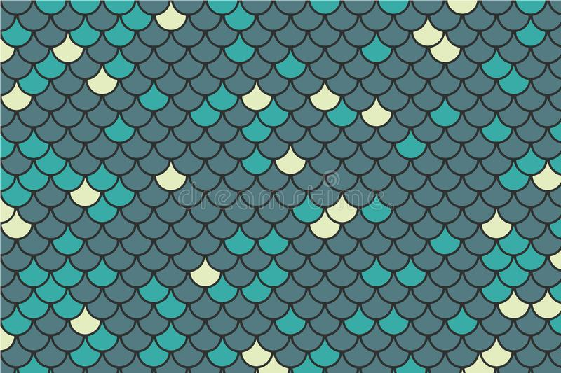 Blue, teal and light yellow fish scale  background royalty free illustration