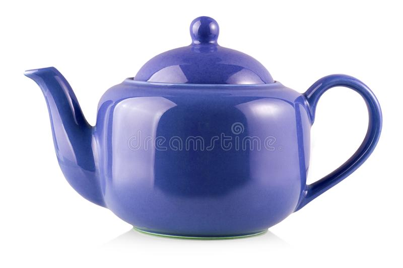 The Blue Teapot Kettle Isolated On White Background. Blue Teapot Kettle Isolated On White Background royalty free stock photos