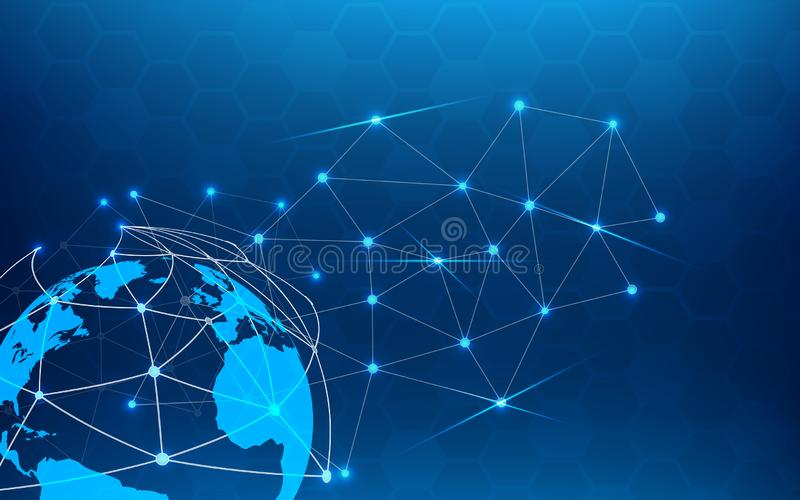 Blue technology abstract background with white line dot. Business and Connection concept. Internet cyber and network theme. Smart. Industry and computer science royalty free illustration