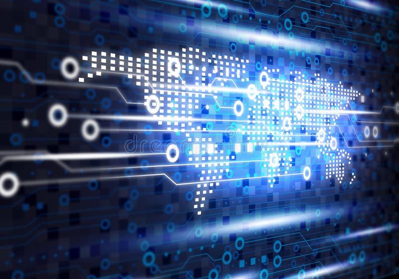Blue technology background of world digital on circuit board stock illustration