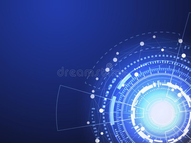 Blue technology circle and computer science abstract background with blue and white line dot. Business and Connection concept. Futuristic and Industry 4.0 royalty free illustration
