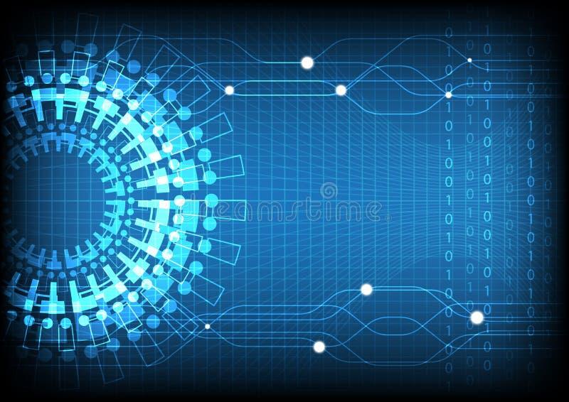 Blue Technology Number Background. Vector Illustration stock illustration
