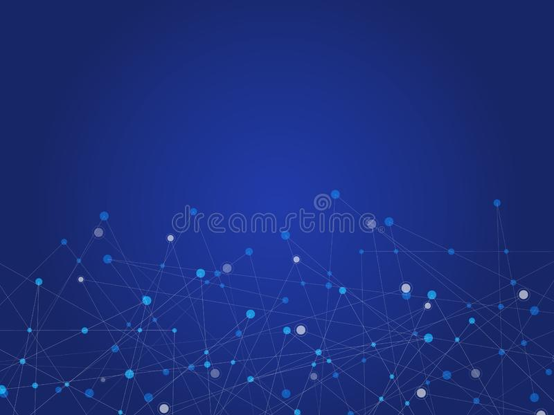 Blue technology and Science abstract background with blue and white line dot. Business and Connection concept. Futuristic and stock illustration
