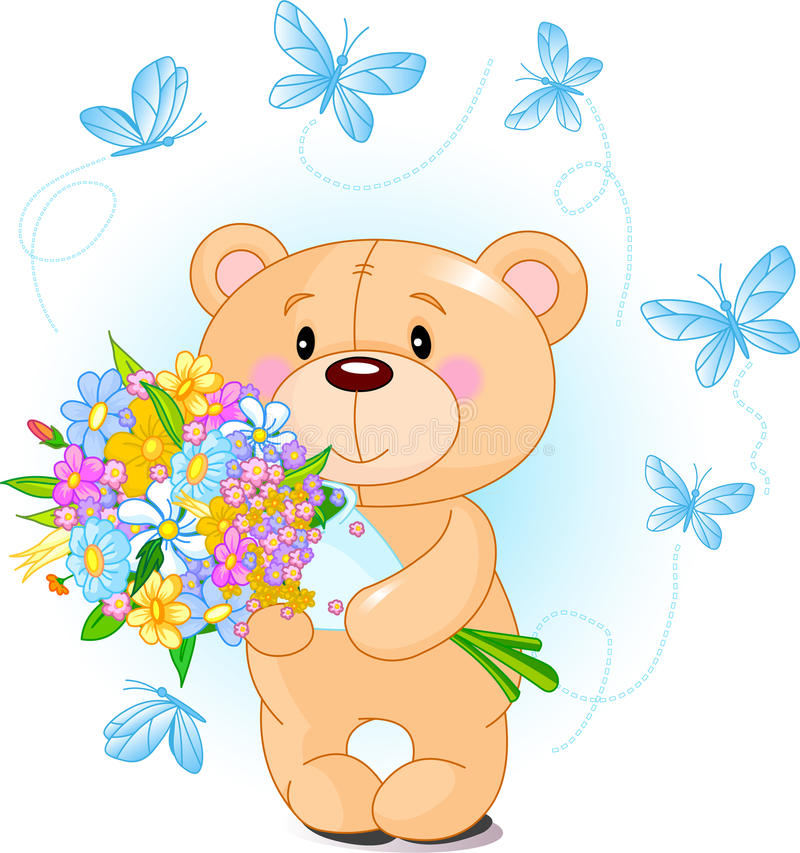 Download Blue Teddy Bear With Flowers Stock Photo - Image: 18072850