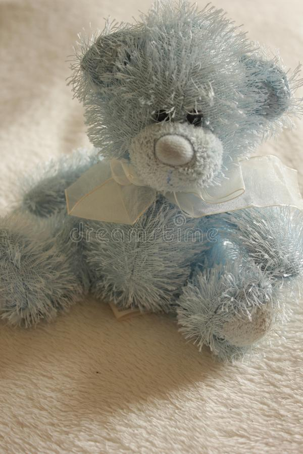 Blue teddy bear high key on blanket. Cute fluffy blue teddy bear soft toy plush, sitting on soft blanket, high key shot royalty free stock photos