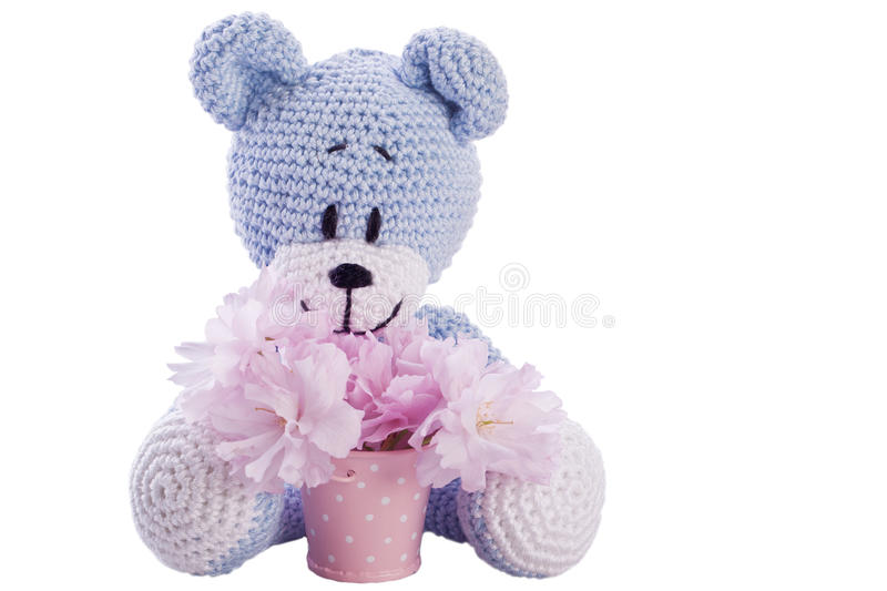 Blue teddy bear with pink blossom in a bucket royalty free stock image