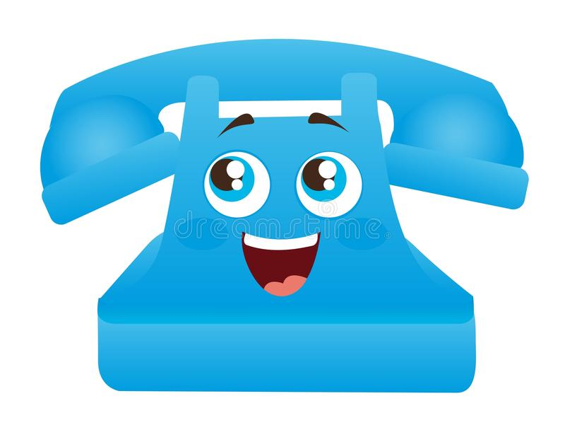Download Blue telephone cartoon stock vector. Image of antique - 22742801