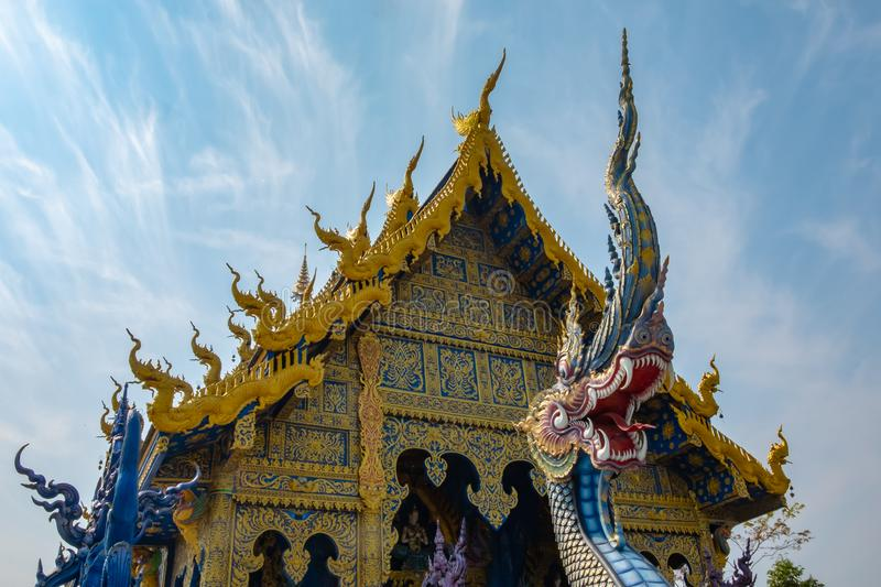 Blue temple in Chiangrai Thailand. The Naga in front of blue buddhist church in Thai temple, blue temple of Chiangrai Thailand stock images