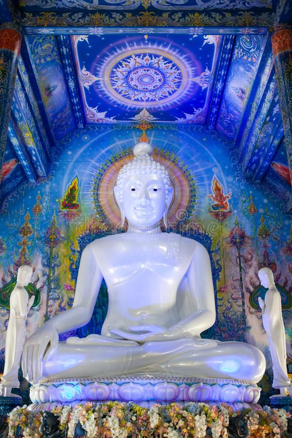 blue temple interior in Chiang Rai royalty free stock image