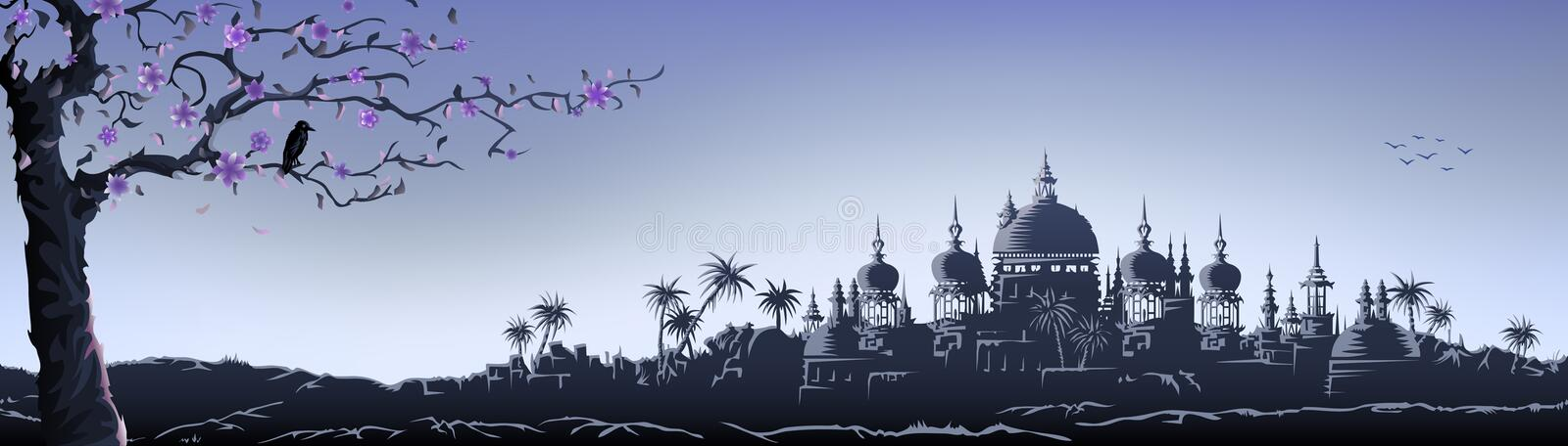 Blue temple panorama vector illustration