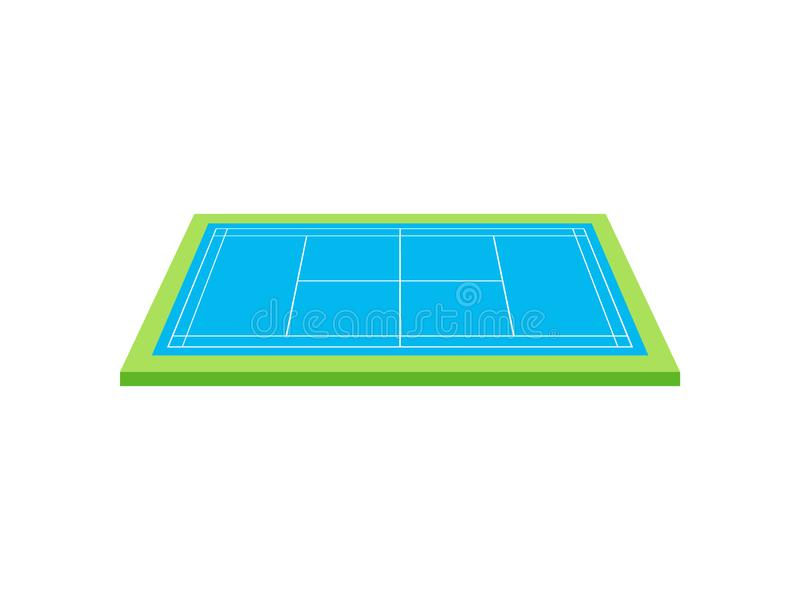 Tennis court. View from above. Vector illustration on white background. Blue tennis court with a green edge. View from above. Vector illustration on white vector illustration