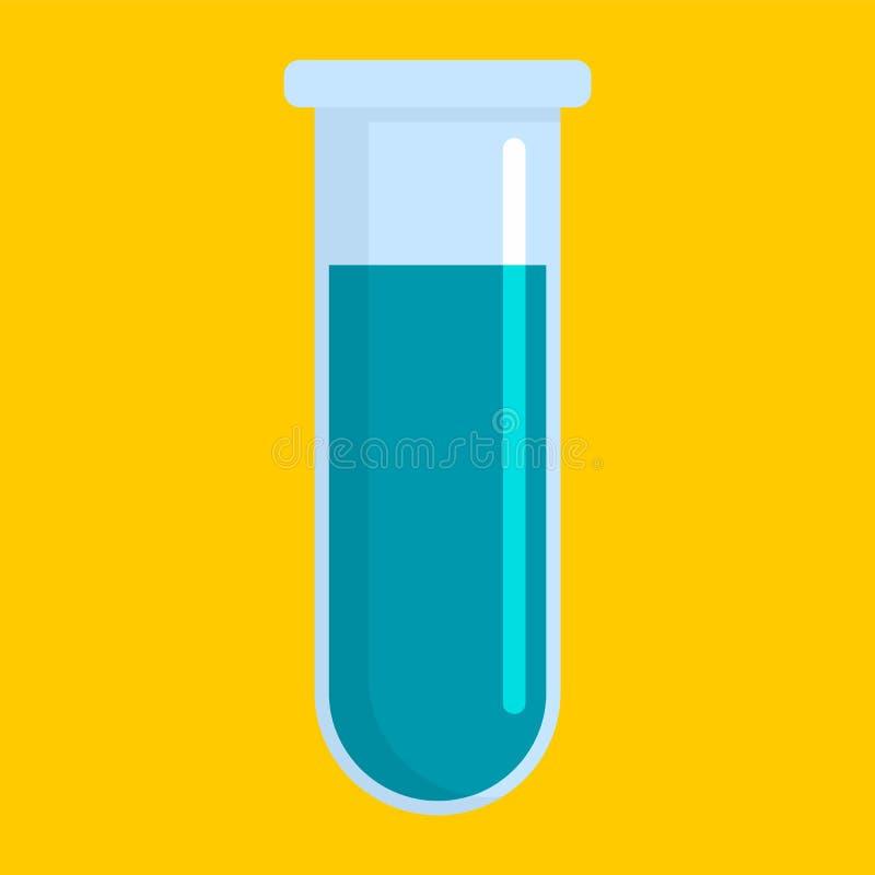 Blue test tube icon, flat style royalty free illustration
