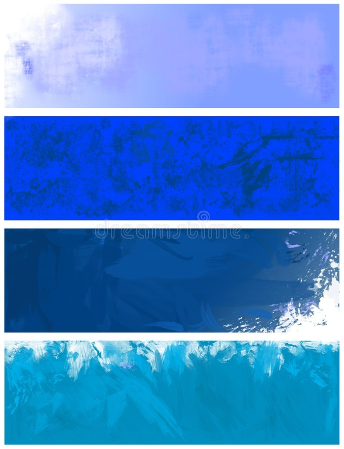 Blue textured banners and backgrounds stock illustration