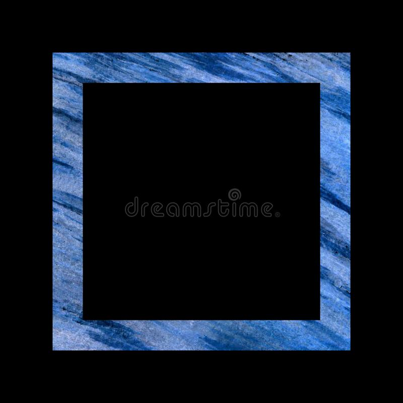 Blue textured square frame on a black background, large diagonal spontaneous strokes vector illustration