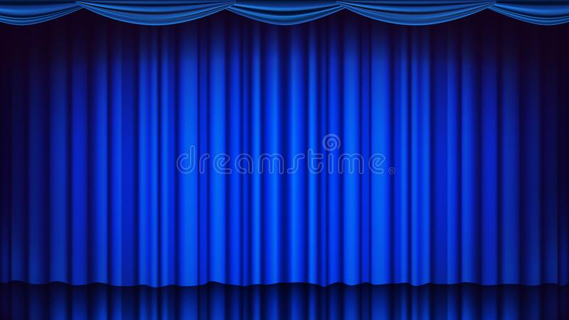 Blue Theater Curtain Vector. Theater, Opera Or Cinema Empty Silk Stage, Blue Scene. Realistic Illustration. Blue Theater Curtain Vector. Theater, Opera Or Cinema vector illustration