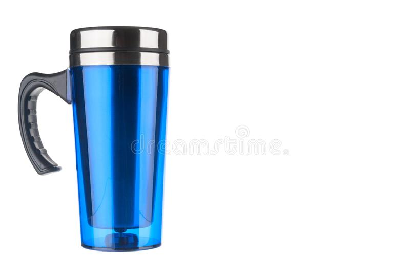 Blue thermo flask on white background stock image
