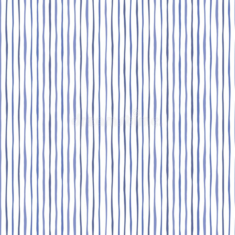 Blue Thin Hand Drawn Wavy Uneven Vertical Stripes On White Backrgound Vector Seamless Pattern. Classic Abstract Geo vector illustration