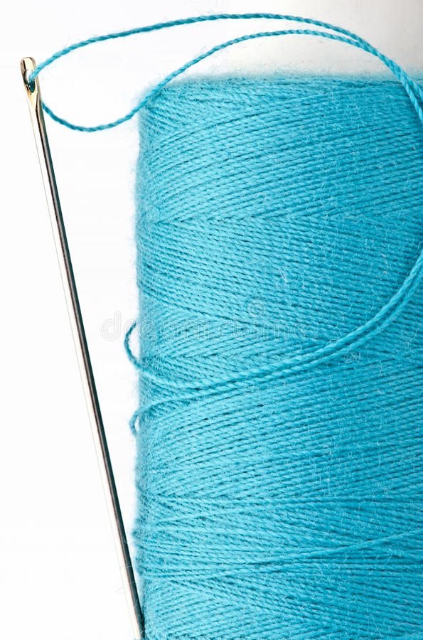 Download Blue thread with needle stock photo. Image of craft, sewing - 25348814