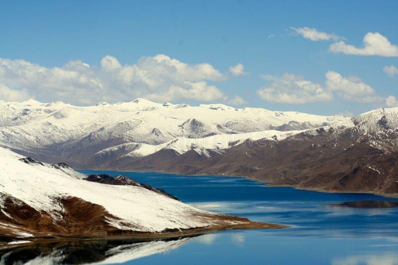 Blue tibet tso lake with the snow mountain stock photo