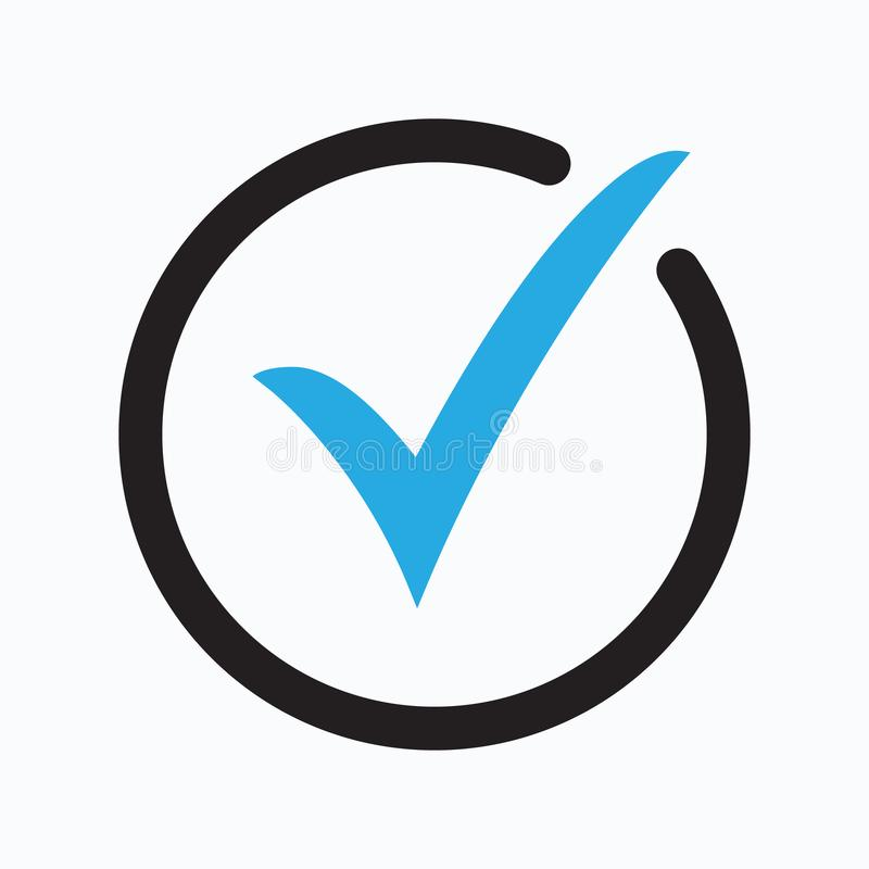 Blue tick icon vector symbol, checkmark isolated on white background, checked icon or correct choice sign vector illustration
