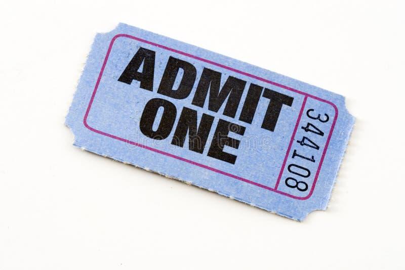 Blue ticket. Blue admit one ticket