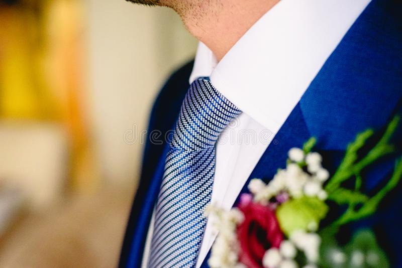 Blue tie knotted around the neck of an elegant and handsome man royalty free stock photography