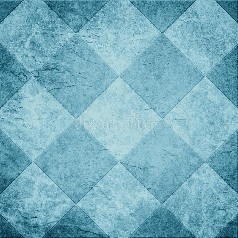 Blue tile background illustration or abstract diamond or block shape pattern on old vintage paper texture background. Square shapes in geometric textured stock photos