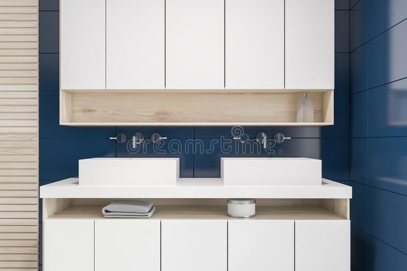 Blue tile and wood bathroom, double sink stock illustration
