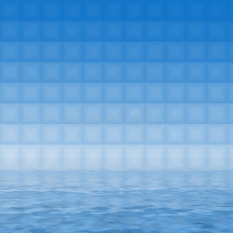 Blue tiles. Small blue tiles reflecting in the water stock illustration