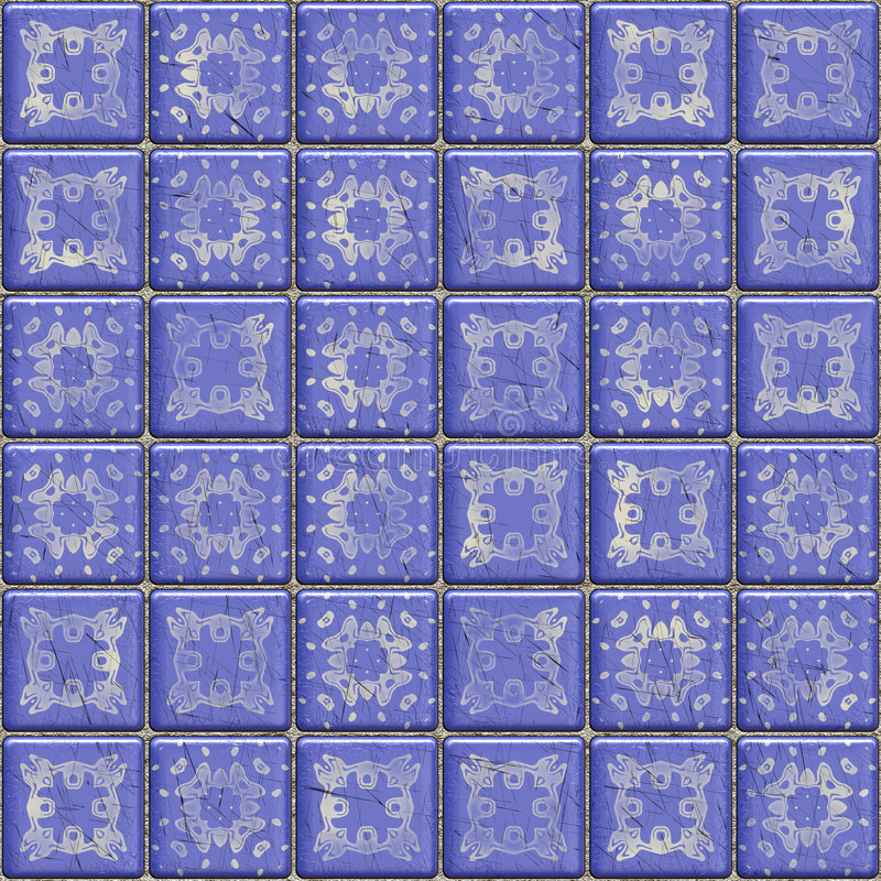 Blue tiles. Closeup view of old scratched blue tiles royalty free illustration