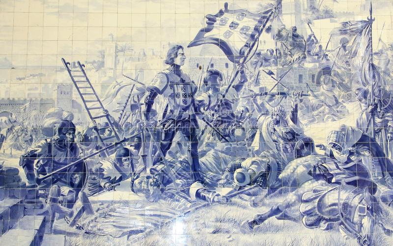 Blue tiles azulejos depicting Prince Henry the Navigator during the conquest of Ceuta in 1415. Sao Bento train station. Port. O. Portugal Picture taken 18th stock image