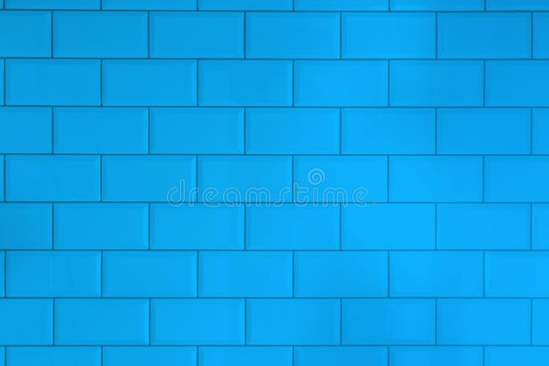 Blue tiles brick background.Interior of the kitchen or bathroom. stock images