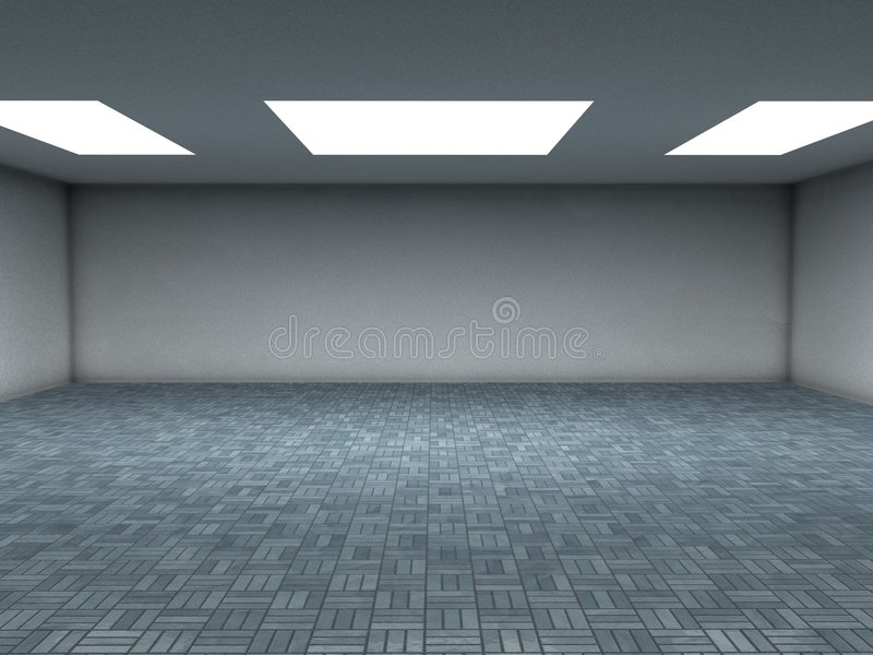 Blue tiles room. An emty room with white ceiling lights and reflective blue ceramic tiles. You can place your objects here. Computer render vector illustration