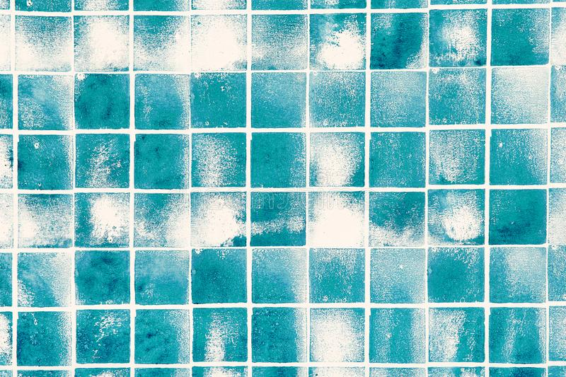 Blue tiles with white borders and stains stock photos