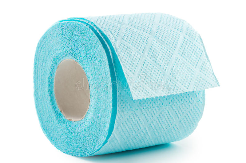 Blue toilet paper royalty free stock images