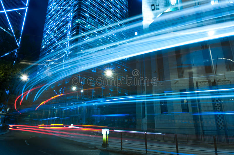 Blue Tone City Night in Central, Hong Kong. Blue Tone Night View in Central, Hong Kong with busy traffic in motion blur stock photo