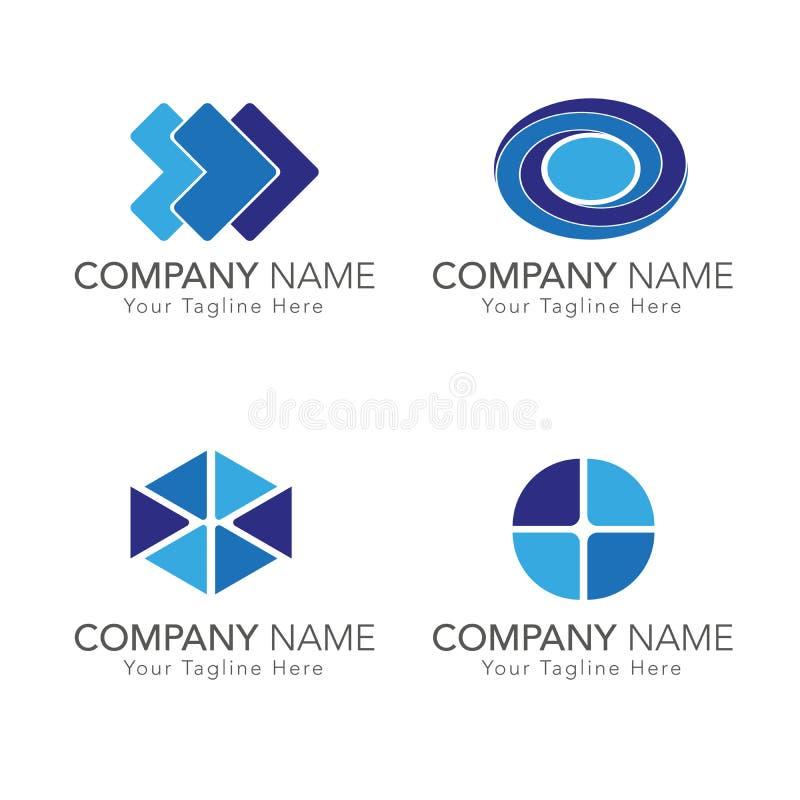 Blue tone logo set stock photography