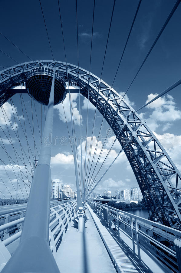 Download Blue Toned Cable-stayed Bridge Royalty Free Stock Image - Image: 10892986