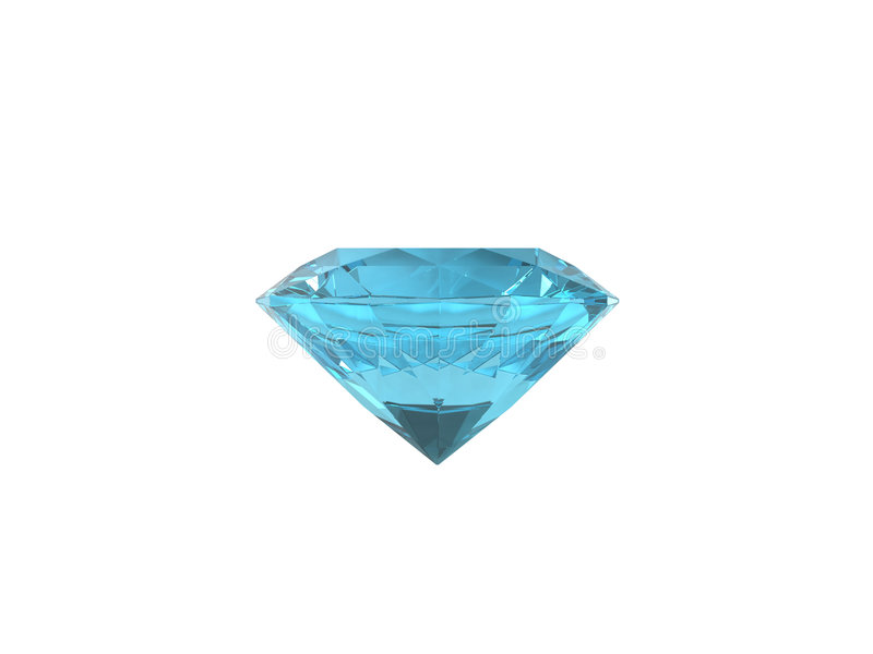 Blue topaz isolated on white background. Blue topaz isolated. This is VHQ visualisation of the blue topaz. Usable for catalogue of gemstones stock illustration