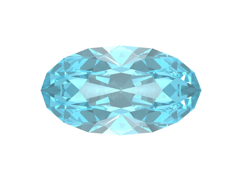 Blue topaz. Oval form. This is VHQ visualisation of the blue topaz oval form. Usable for catalogue of gemstones royalty free illustration