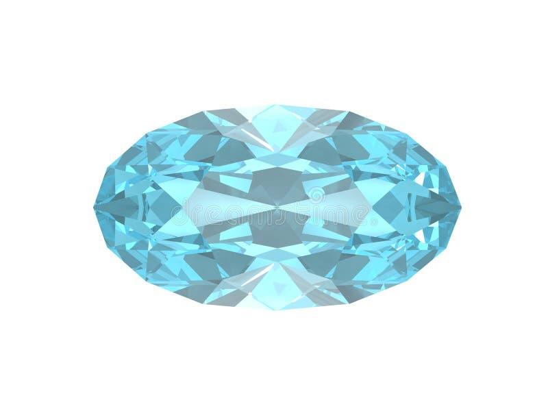 Blue topaz. Oval form. royalty free illustration