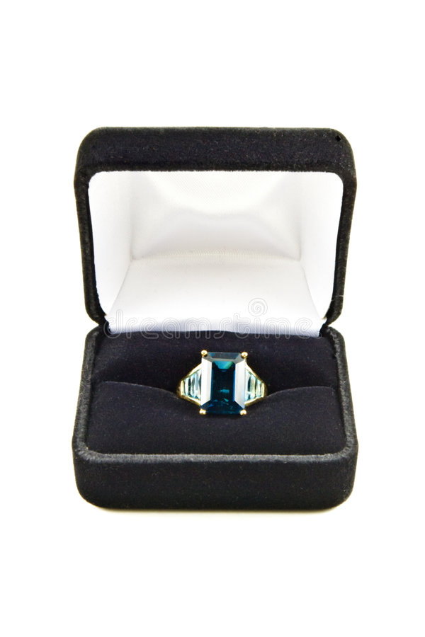 Free Blue Topaz Ring In Box Stock Images - 6294614