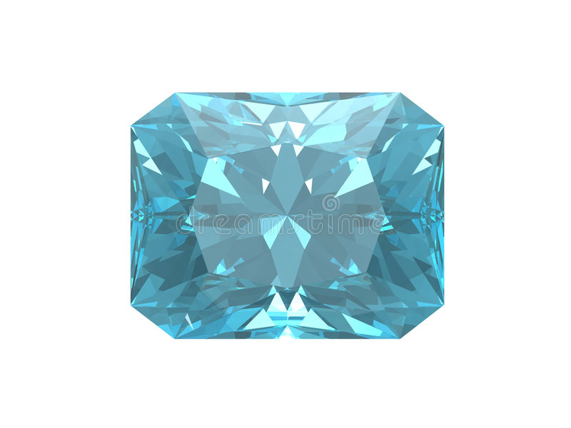 Blue topaz. Square form. This is VHQ visualisation of the blue topaz square form. Usable for catalogue of gemstones royalty free illustration