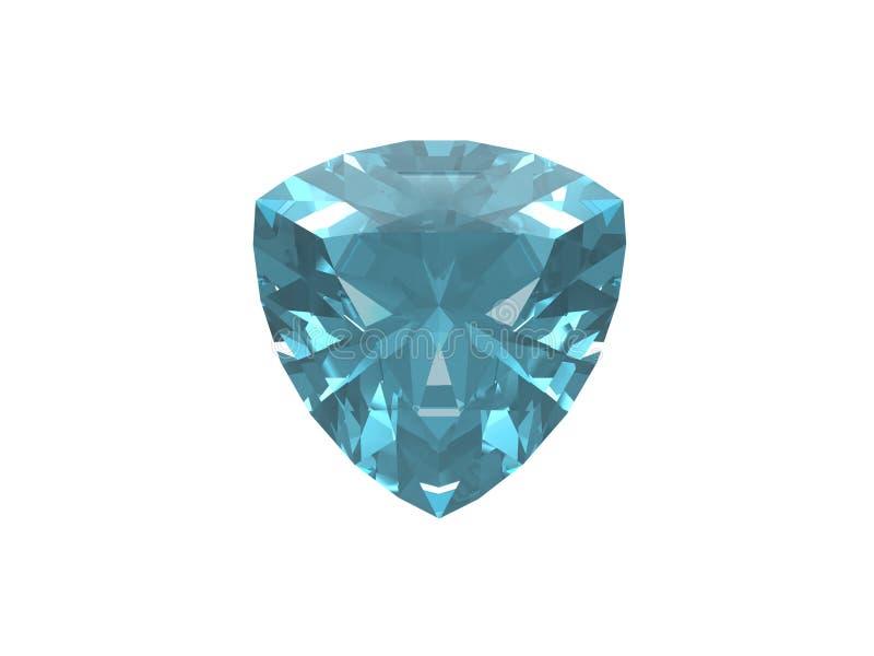 Blue topaz. Trillon form. This is VHQ visualisation of the blue topaz trillon form. Usable for catalogue of gemstones stock illustration